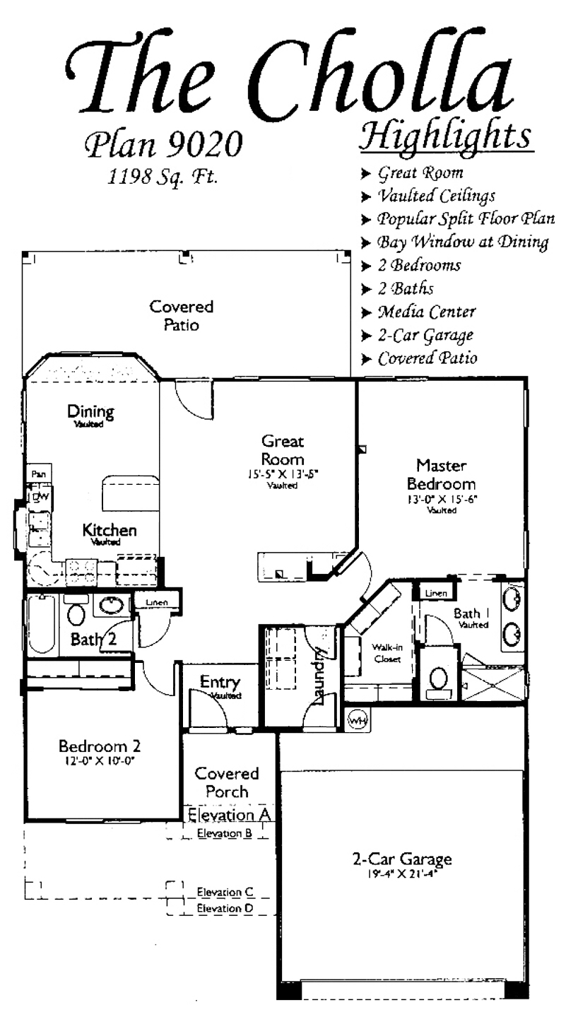 The Cholla Property Floor Plan in Arizona Traditions
