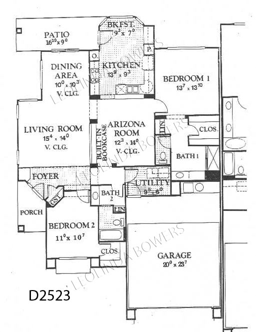 Sun City West Cameron Model Duplex Floor Plan
