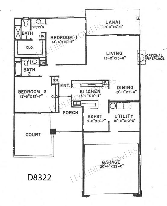 Sun City West Model D8322 Duplex Floor Plan