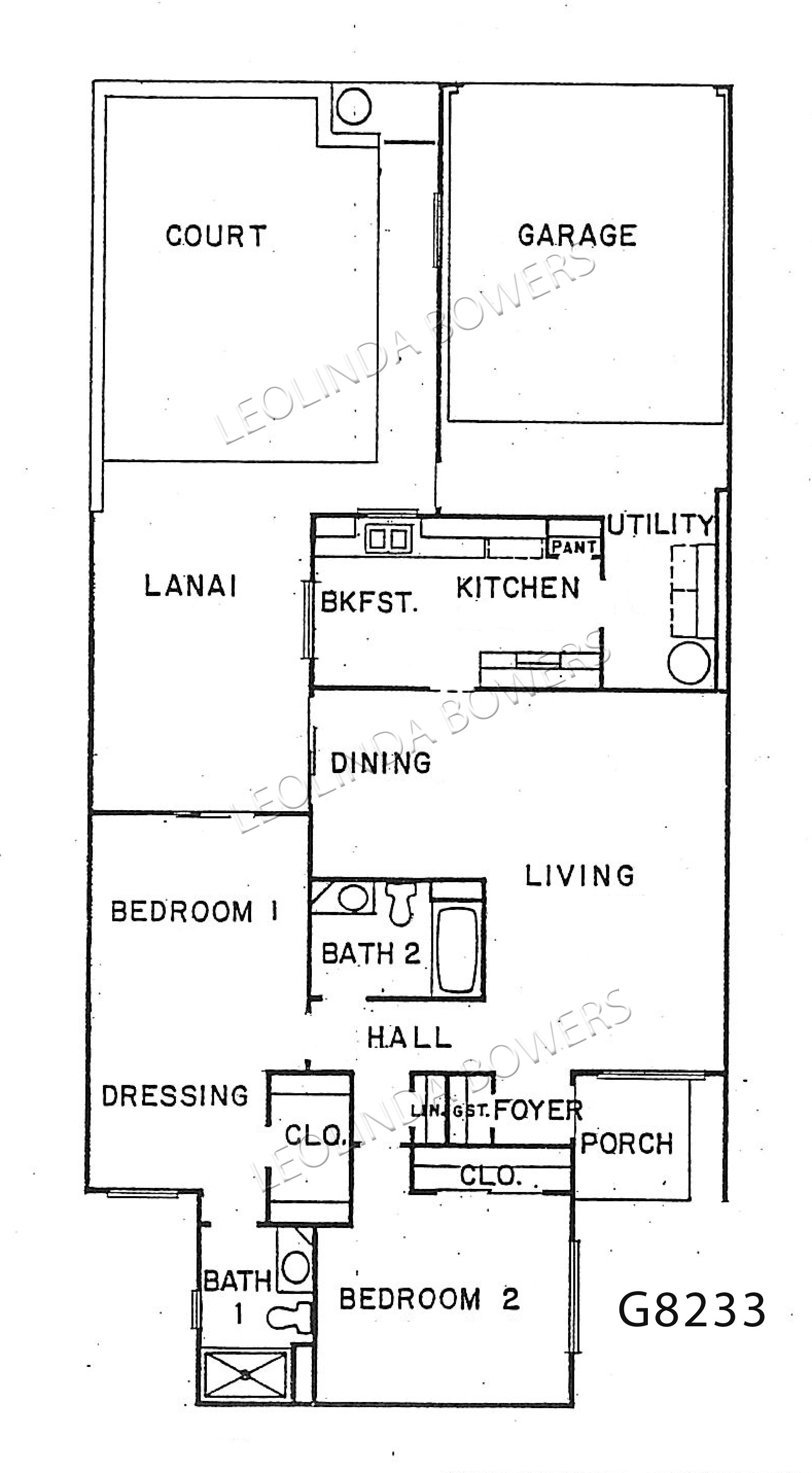 Sun City West garden apartment model G8233 floor plan
