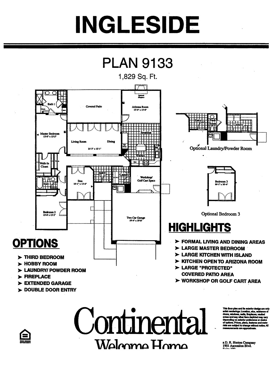 Ingleside Floorplans in Arizona Traditions