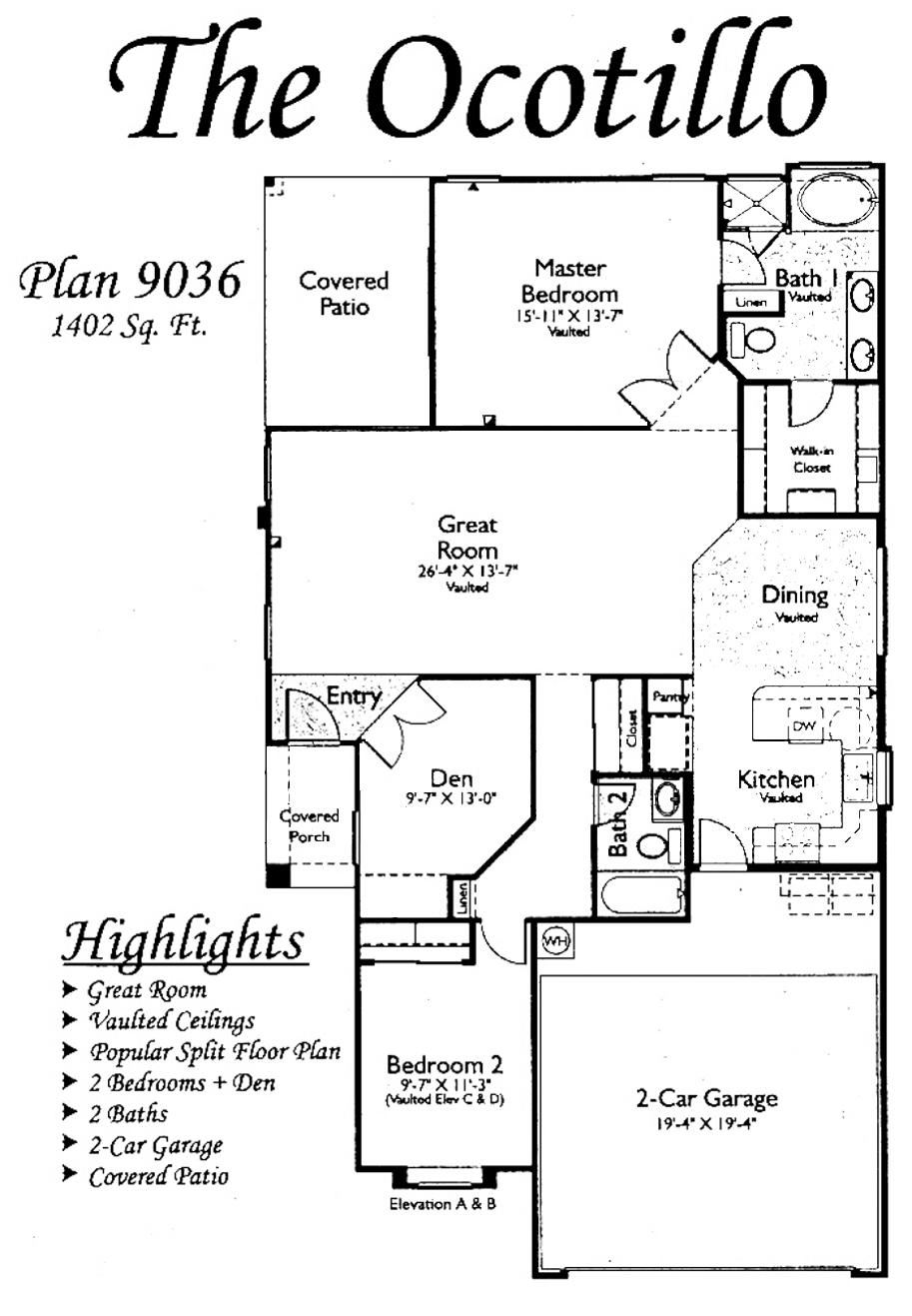 Floor Plans For The Ocotillo Models Inside Arizona
