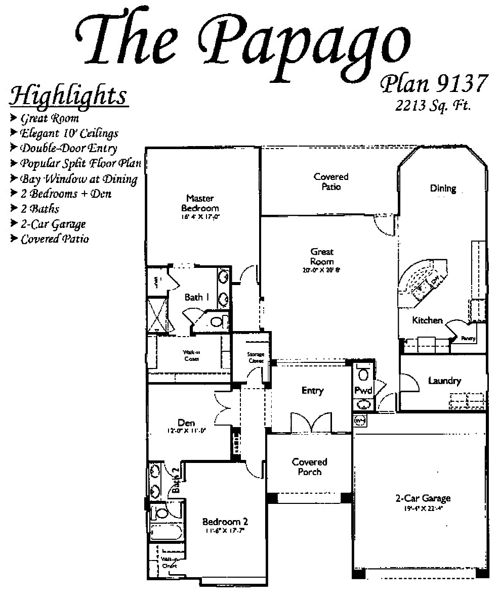 Papago Floorplans in Arizona Traditions