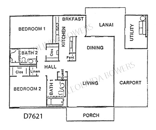 Sun City West D7621 Duplex Model Floor Plan