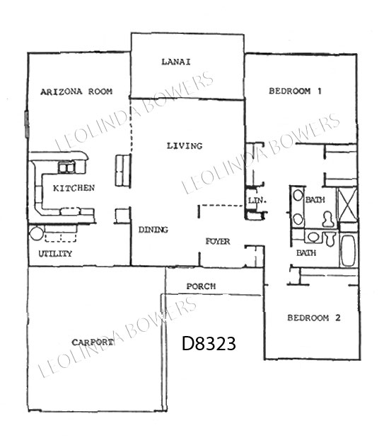 Sun City West Model D8323 Duplex Floor Plan